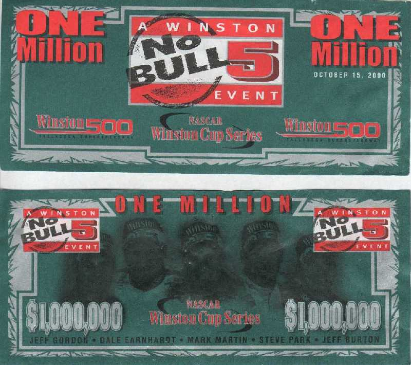 No Bull 5 money from Talladega, 10/15/2000